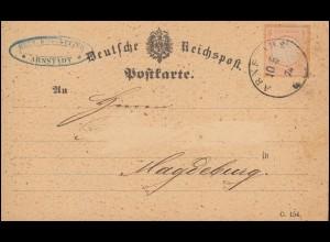 18 Brustschild 1/2 Groschen auf Postkarte ARNSTADT 10.5.1874 nach Magdeburg