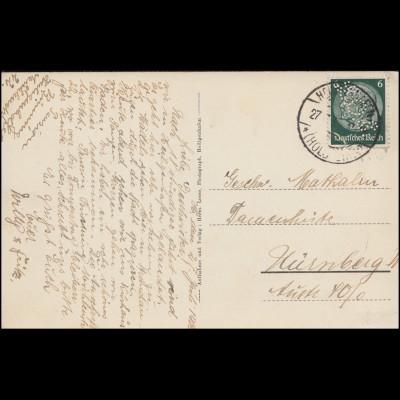 Firmenlochung L.O.S. auf Hindenburg 6 Pf. EF Ansichtskarte HEILIGENHAFEN 27.7.35
