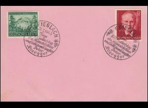 855-856 Peter Rosegger auf Vorlage-Karte SSt KRIEGSLACH Heimatdichter 31.7.43