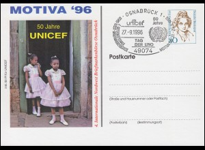 Privatpostkarte Frauen 80 Pf 50 Jahre UNICEF SSt OSNABRÜCK Tag der UNO 27.9.1996