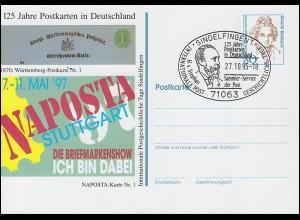 Privatpostkarte Frauen 80 Pf NAPOSTA Stuttgart SSt SINDELFINGEN Stephan 27.10.95
