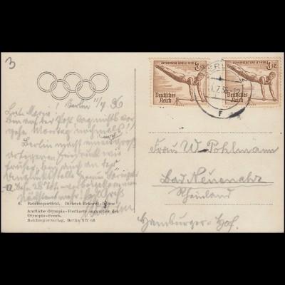 609 Turnen am Reck als MeF auf Olympia-AK Reichssportfeld BERLIN 11.7.1936
