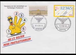 Schmuck-Umschlag Neue Postleitzahlen 1659 SSt BONN Archiv 30.6.93 / 1.7.93