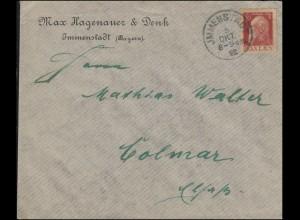 78II Luitpold 10 Pf. Type II als EF Brief IMMENSATDT 5.10.1913 n. Colmar/Kolmar
