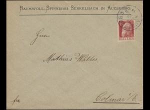 78II Luitpold 10 Pf. Type II als EF Brief AUGSBURG 24.1.1914 nach Colmar/Kolmar