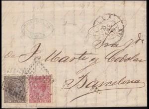 Spanien 168 König Alfons mit Kriegssteuermarke ZA 13 Brief SEVILLA 20.1.1879