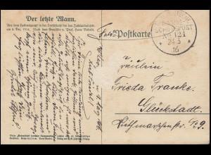 DEUTSCHE MARINE-SCHIFFSPOST No 121 - 24.3.1916 auf Feldpost-AK Der letzte Mann