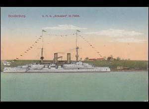 DEUTSCHE MARINE-SCHIFFSPOST No 141 - 11.4.1915 SMS Schwaben auf passender AK