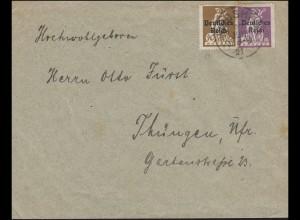 122+124 Abschiedserie 20+40 Pf. MiF auf Brief WINDSHEIM 27.5.1921 nach Thüngen