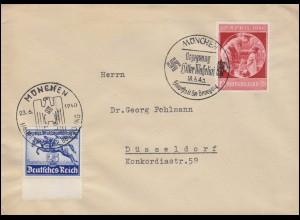 746 Deutsches Derby + 744 Geburtstag je mit Sonderstempel MÜNCHEN 1940 auf Brief