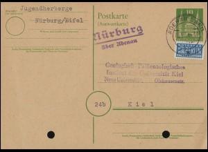 Firmenlochung AJ auf Germania 5 Pf als EF auf AK Trachten SKALMIERZYCE 11.10.12