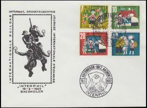 179xWOR Heuss 5 Pf. Oberrand-Paar + 2 Marken als MeF Fernbrief HAMBURG 27.3.61