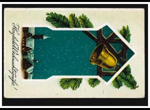 Prägekarte Weihnachten Glocke, Feldpostkarte mit BS Pionier-Park 18.12.1917