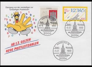 Schmuck-Umschlag Neue Postleitzahlen 1659 SSt Hamburg 30.6.93 / 1.7.93