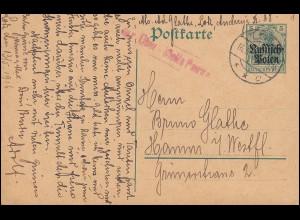 Zensur Deutsche Post in Polen Postkarte P 1 von LODZ 16.5.16 nach Hamm