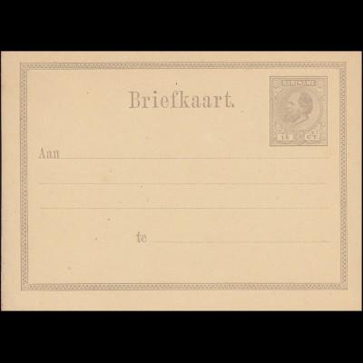 Surinam Postkarte / Post Card 15 Ct. braun 1878, ungebraucht **