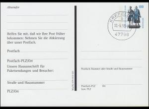 Postfach-Karte PFK 2 100 Pf Goethe/Schiller mit Materialnummer, KREFELD 10.6.99