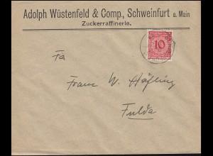 340Wa Korbdeckel als EF Brief Zuckerraffinerie in SCHWEINFURT 3.4.24 nach Fulda