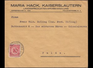 340Pa Korbdeckel EF Brief apt. Stempel BAHNPOST NEUNK.-LDWHF. 2.7.24 nach Fulda