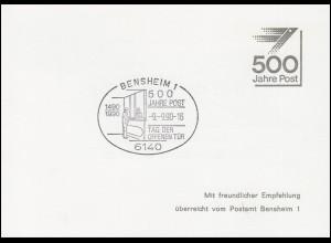 Klappkarte Tag der Offenen Tür SSt BENSHEIM 500 Jahre Post 9.9.1990