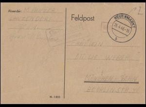Landpost-Stempel Lanzendorf über NEUENMARKT 26.4.46 Postkarte Gebühr-bezahlt-O