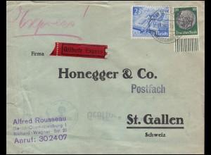 Deutsche Zensur auf Expressbrief LEIPZIG 1.12.1940 nach St. Gallen / Schweiz