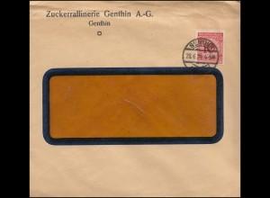 340Wa Korbdeckel 10 Pf EF Brief Zuckerraffinerie GENTHIN 28.6.1924
