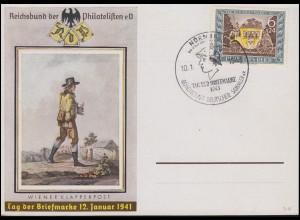 828 Tag der Briefmarke Postkarte als Schmuck-FDC passender ESSt NÜRNBERG 10.1.43