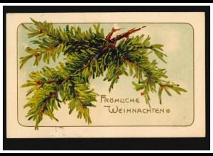 Prägekarte Fröhliche Weihnachten Tannenzweig, HALBERSTADT 24.12.1906