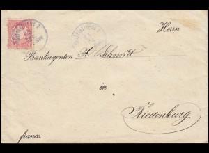 Bayern 10 Pf Wappen auf Brief MÜNCHEN 13.4. an Bankagenten Schmidt in Riedenburg