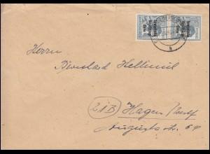 186 SBZ-Aufdruck im Paar MeF Brief BERLIN-OBERSCHÖNEWEIDE 6.10.1948 nach Hagen