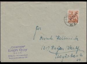 9 Schwarzaufdruck 24 Pf. als EF auf Brief BERLIN 61 g - 7.1.1949 nach Hagen