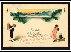 Prägekarte Fröhliche Weihnachten Kinder Telefon, WARDENBURG 27.12.1913