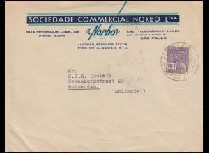 Brasilien 363 Hermes mit Globus 700 Reis EF Auslandsbrief SAO PAULO 22.9.1935