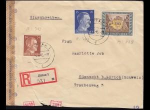 Zensur Deutsches Reich R-Brief in MIF 828+792+793 ZITTAU 7.7.43 in die Schweiz