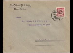 340Pa Korbdeckel EF Brief Zuckerraffinerie Zuckerwarenfabrik, gelaufen 29.4.1924