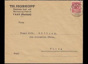 340Pa Korbdeckel EF Brief Senf und Weinessig Moskopf FAHR (RHEINLAND) 25.4.1924