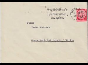 Firmenlochung CS auf Hindenburg 12 Pf als EF auf Brief REMSCHEID 14.10.37