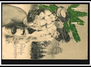 Prägekarte Weihnachten Frauen Weihnachtsgeschenke, TEMPELHOF 23.12.1907