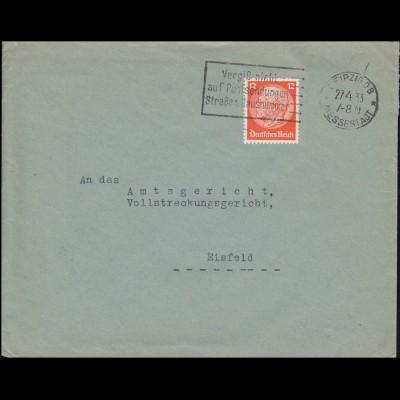 Firmenlochung GVG auf Hindenburg 12 Pf auf Brief LEIPZIG MESSESTADT 27.4.33