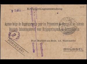 Kriegsgefangenenpost aus dem Lager SOLTAU 10.3.18 nach Brüssel
