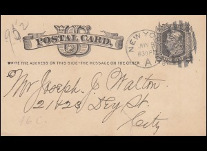 USA Postkarte Postal Card One Cent schwarz NEW YORK 5.6.1881