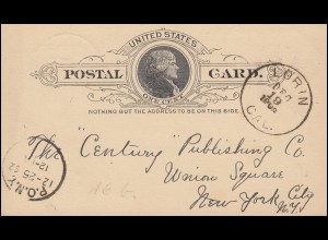 USA Postkarte Postal Card One Cent schwarz LORIN CAL. 19.12.1892 nach NEW YORK
