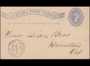 Kanada / Canada Post Card One Cent Königin in Blau, HAMILTON 21.2.1884