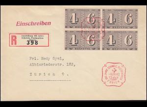 Schweiz 416 Briefmarken als Vbl. auf Orts-R-Bf Sonder-R-Zettel SSt ZÜRICH 6.3.43