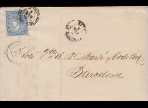 Spanien 68 Königin Isabella 4 Cs. EF Brief REUS / TARRAGONA 1865 nach Barcelona