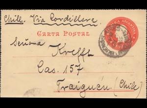 Argentinien Kartenbrief 4 C. rot mit Zusatzfr., BUENOS AIRES 1903 nach TRAIGUEN