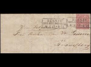 Norddeutscher Bund 1 Gr. EF Brief Rahmen-O BERNAU REG. BEZIRK POTSDAM 4.9.1869