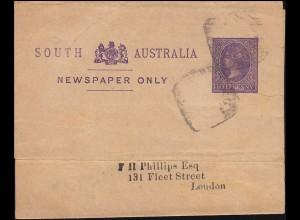 Australien Ganzsache Streifband HALF PENNY violett Königin Victoria nach London