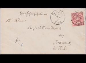 Norddeutscher Bund 1 Gr. EF Bf. Einkreis BERLIN 12.2.1872 nach Rosenkrantz/Kiel
